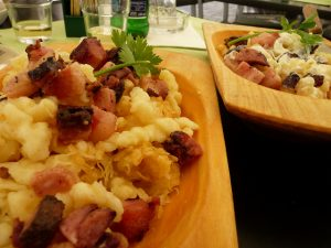 Slovak Potato Dumplings with Sheep Cheese and Roasted Bacon photo by la Ezwa