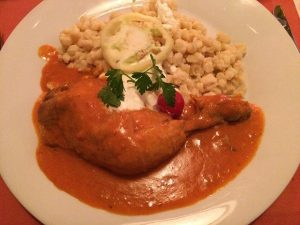 Paprika Chicken with Nokedli photo by Tim Venchus