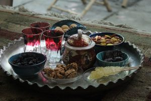 Tea and dried fruits photo by Nahid V